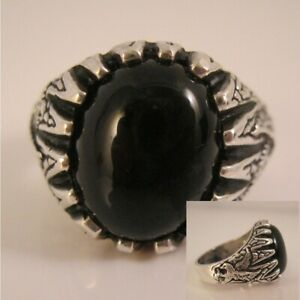 Vintage Men's Black Onyx Eagle & Claw Ring Sterling Silver Size 10 Fine Jewelry