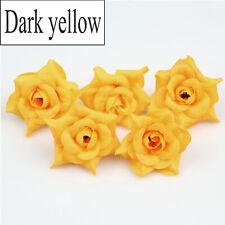 "2"" Dark yellow Bulk Artificial Silk  Rose fake flowers heads DIY Wedding Decor"