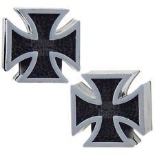 2x Black Cross Tire Air Valve Dust Caps GSX-R CBR Ninja ZX R1 R6 Harley Chopper