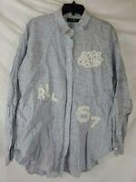 $145 Lauren Ralph Lauren Women's Large Striped Lace Applique Button Front New