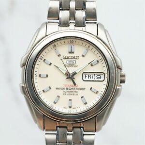 Rare Seiko 5 Superior 7S36-0140 Titanium Cream Dial Automatic Sports Watch