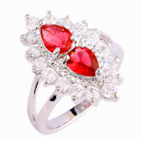 Engagement Pear Cut Ruby & White Topaz Gemstone Silver Ring Size 6 7 8 9 10 Gift