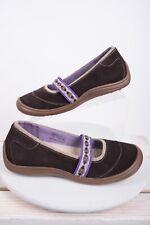 Lands End Womens Mary Jane Flats 7.5 B Brown Purple Slip On Shoes Terrain Lodge