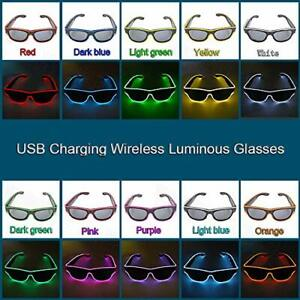 LED Light up Sunglasses,USB Rechargeable&Wireless Glowing Luminous Glasses party