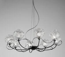 Lampadario contemporaneo design moderno nero e vetro BELL gomitoli 3011/L8L