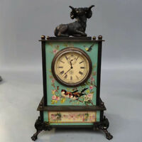 Collection China Exquisite Pure Copper Engraving Sheep Mechanical Clock