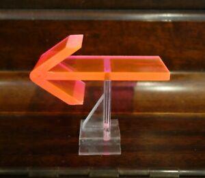 Vintage Mid Century 1950's Retro Neon Orange Pink Fiber Optic Left Arrow Symbol