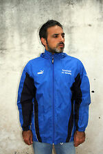 Puma WINDRUNNER Windbreaker Vintage 80's Hood Nylon Blue-Black Jacket Mens M