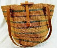 Large Straw Bag Leather Handles Gardening Beach Picnic