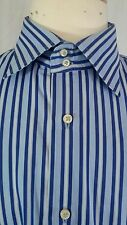 Mens Tommy Hilfiger Long Sleeve Shirt 100% 2-ply Cotton blue n white Stripped XL