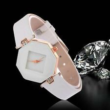 Women's Watch Diamond Faux Leather Rhinestone Quartz Analog Wrist Watch White #M