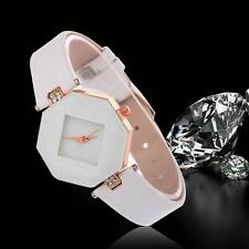 Women's Watch Diamond Faux Leather Rhinestone Quartz Analog Wrist Watch White L@