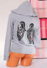VICTORIA'S SECRET VS ~Angel Wings~ Sequins Bling Logo Zip-Up Hoodie Jacket ~ XS