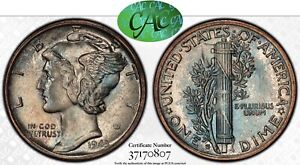 1943-S Mercury Dime PCGS MS67 CAC Blue Rainbow Toned