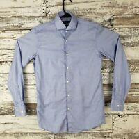 Boss Hugo Boss Sharp Fit Mens Long Sleeve Button Down Blue White Size 15 32/33