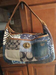 Coach Indigo Denim Patchwork Ergo XL Hobo Handbag #10809