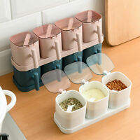 CONDIMENT JARS SALT SPICE CONTAINERS SEASONING STORAGE BOXES SET WITH SPOON SUPE