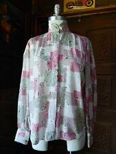 VTG STUART LANG Pink White Gray Button Down Blouse Long Sleeve Dress Shirt 10
