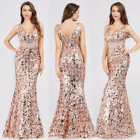 Ever-Pretty Gold Sequins Evening Dress Long Fishtail Celebrity Prom Gowns 07872