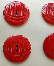 "Vintage Buttons -  4 Bright Red Carved Casein 20 mm ""Elizabeth"" Buttons - USA"