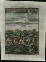 Waradin Hungary 1719 Mallet engraved miniature birds-eye city view print