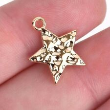 10 Bright Gold Hammered Metal STAR Charm Pendants, 18x15mm chg0513