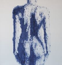 Modern Artwork Print of a nude woman painted in Blue and white