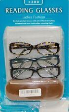 Reading Glasses +200 Ladies Fashion 3 Pack - Free Shipping