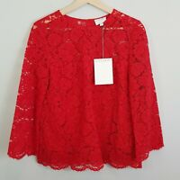 [ WITCHERY ] Womens Red Scallop Lace Blouse Top NEW $129.95 | Size AU 10 or US 6