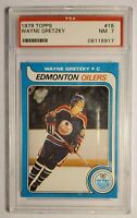 WAYNE GRETZKY 1979-80 Topps Hockey ROOKIE RC Card #18 - OILERS - PSA Graded NM 7