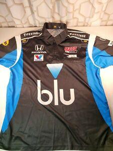Rahal-Letterman-Lanigan Racing IndyCar Izod Honda Pit Crew Polo XL blu  **read**