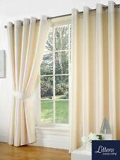 "66"" x 108"" Cream Faux Silk Pair Curtains Eyelet, Ring Top, Lined Inc Tiebacks"