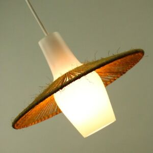 Pendel Leuchte Sisal & Glas Hänge Lampe Ø26 Top Zustand Vintage 50er Jahre 50s
