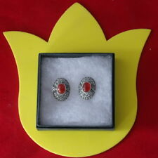 FANTASTIC 925 SILVER EARRINGS WITH CARNELIAN & MARCASITE 8.5 GR.2.5X1.8 CM. WIDE