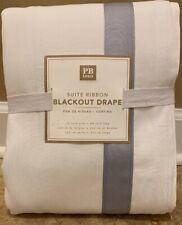 "NEW Pottery Barn Teen Suite Ribbon BLACKOUT 96"" Drape GRAY"