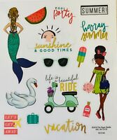 2 Sheets Trendy Girl Hooray Summer Stickers Papercraft Planner Seasonal Craft