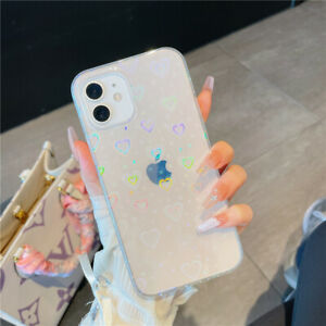 Soft TPU laser heart-shaped Clear Back Case For iPhone 11 12 13 Pro Max XS 7 8