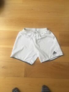 Mens UK Medium size lightweight Adidas white football shorts without pockets