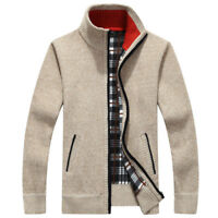 Men's Casual Sweater Slim Zip Thick Cashmere Loose Knit Shirt Cashmere Cardigan