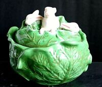 Vintage Holland Mold Green Ceramic Cabbage White Rabbits on Lid Covered Bowl