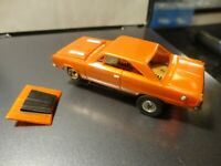 vintage aurora tjet ho slot car  gtx model motoring body orange