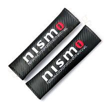 2Pcs Nismo Black Carbon Fiber & Embroidery Car Seat Belt Cushions Shoulder Pads