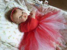 tutu en tulle turban bandeau rouge bébé reborn poupon poupee fait main