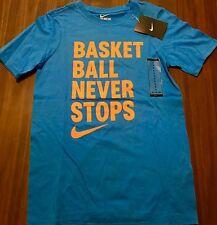 NWT Nike Boys YXL Light Blue/Light Orange BASKETBALL NEVER STOPS Shirt XL