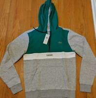Authentic Mens Lacoste Colorblock 1/2 Zip Hoodie Silver/Green 9 (4XL) $135