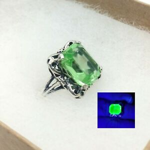 Uranium glass sterling silver adjustable solitaire ring