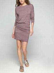 Athleta Avenues Dress Dusty Plum Stripe Blouson Jersey