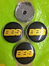 BBS Centro De Rueda Tapa Cubre 60mm Negro/Oro Juego de 4 Tapacubos logotipo e insignia emblema