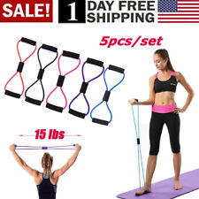 5Pcs Fitness Equipment Elastic Resistance Bands Tube Workout Exercise Yoga Band
