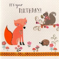 Woodland Fox Embellished Birthday Greeting Card Hand-Finished Marshmallow Cards